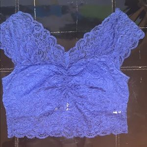 Royal Blue Lace Crop Top